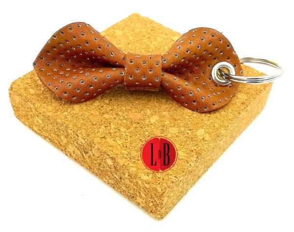 Porte-clefs-noeud-pap-marron-paillettes